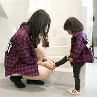 Spring Family Matching Outfits Baby Girl Red Lattice Cardigan Shirt Mother Daughter Shirt Windbreaker Family Matching
