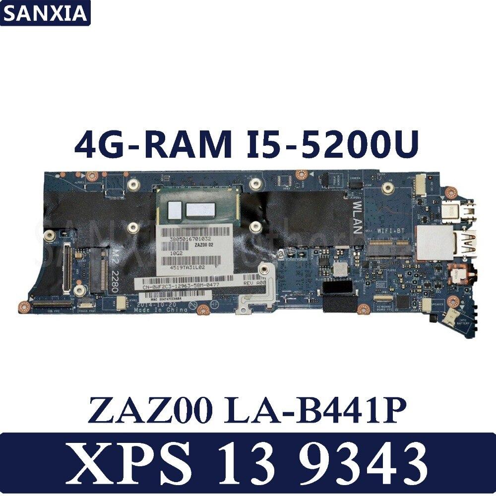 KEFU ZAZ00 LA B441P Laptop motherboard for Dell XPS 13 9343 Test original mainboard 4G RAM I5 5200U