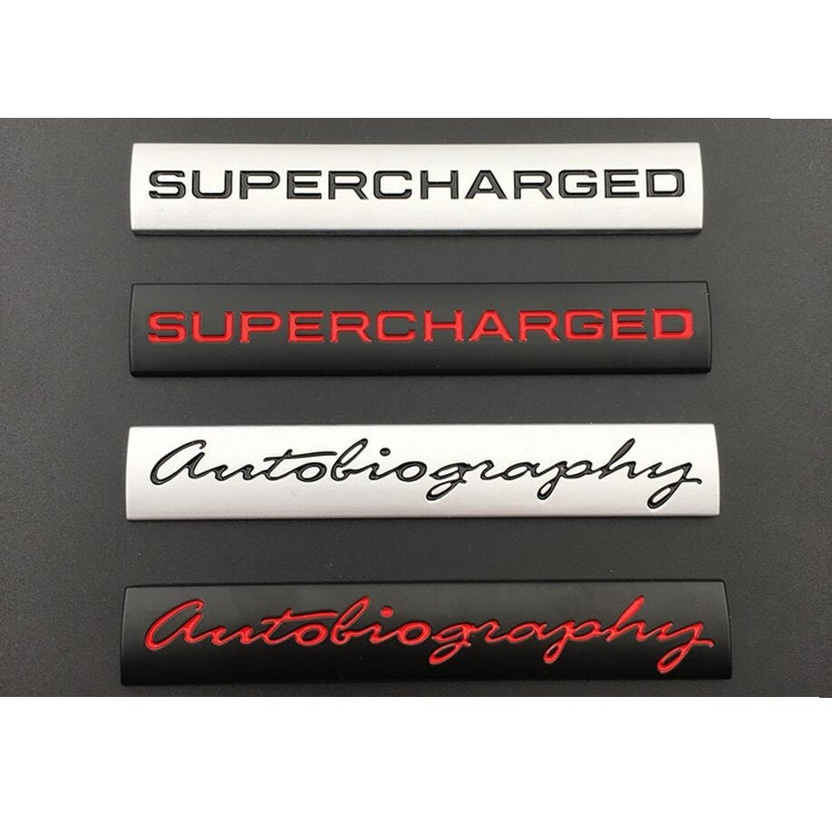 Silver BlackAutobiography SUPERCHARGED Trunk Letters Badge Emblem Emblems Badges for Discovery Range Rover Black-red letters, Autobiography
