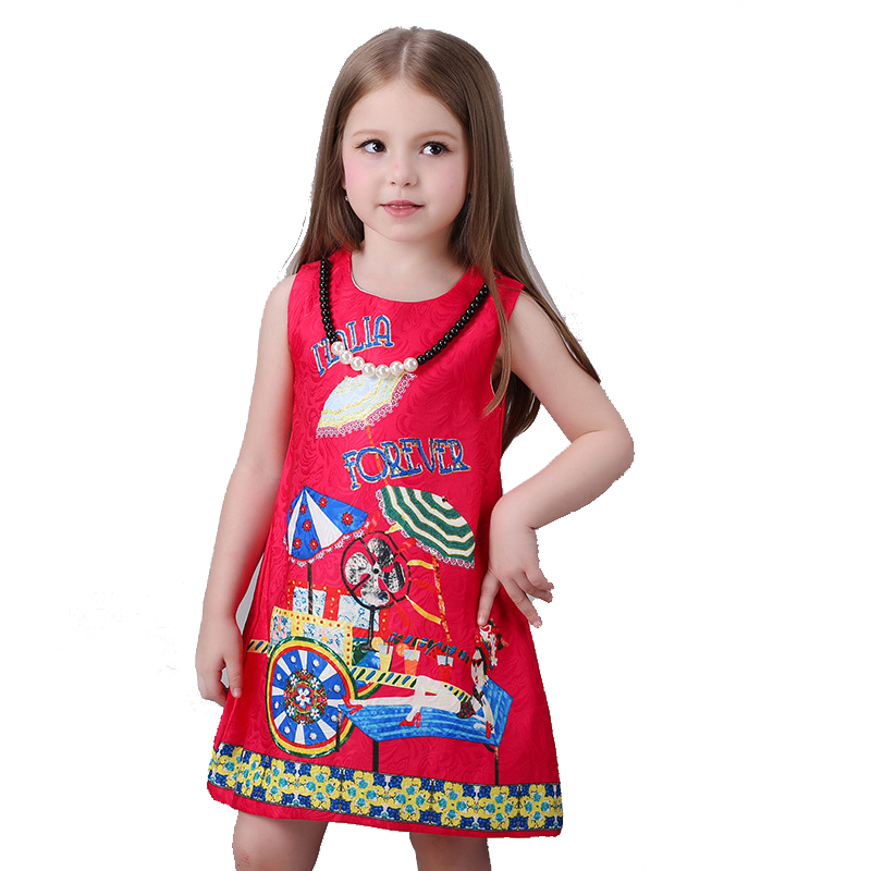 Baby Girls Clothes Of Kids 2016 Children Brand Dress for Clothes Girls Flower red palace style