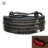 Smoke Motorcycle Tri Bar Fender LED Brake Signal Light Moto Tail Lighting Case For Harley Touring