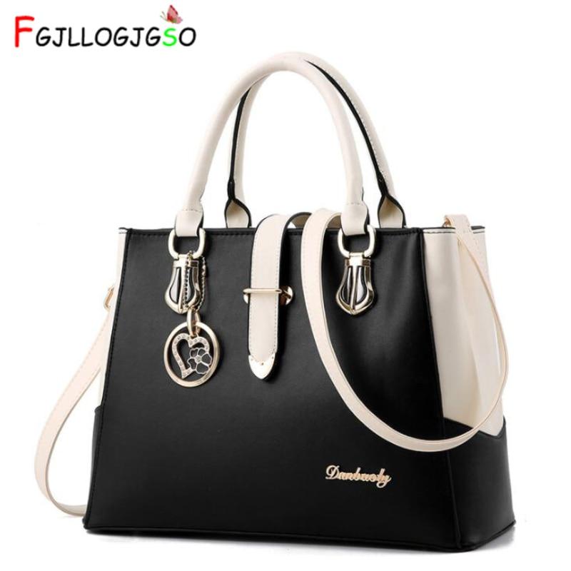 e29f578343 FGJLLOGJGSO brand women Leather handbag totes solid sequined handbag Female  party purse ladies messenger crossbody shoulder