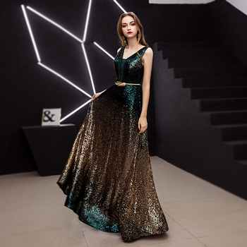 FADISTEE New Vestido De Festa Sweet Long Evening Dress Bride Party sleevesless sequins Prom Dresses gold black slit neck 2019