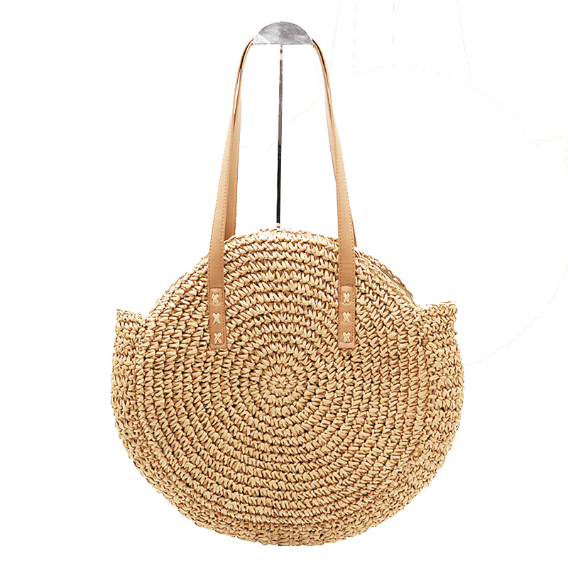 New Natural Lady Portable Tote Portable Large Straw Bag Round Pop Straw Lady Shoulder Bag Beach Holiday BagNew Natural Lady Portable Tote Portable Large Straw Bag Round Pop Straw Lady Shoulder Bag Beach Holiday Bag