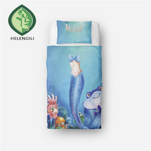 HELENGILI 3D Bedding Set Mermaid Print Duvet cover set lifelike bedclothes with pillowcase bed set home Textiles #RW-09