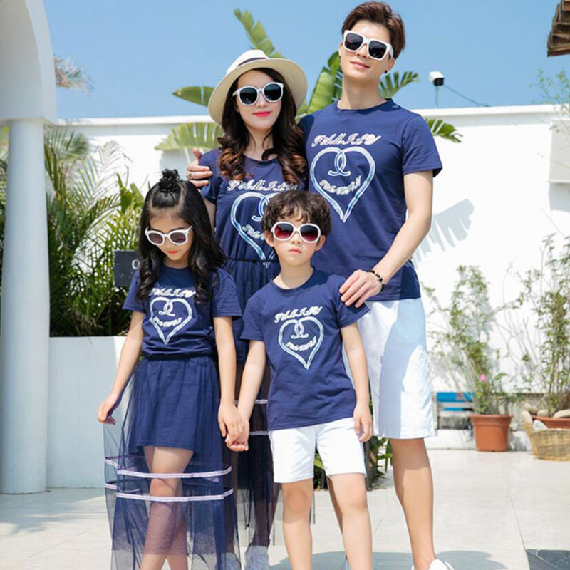 Family Matching Clothes Set | Mother Daughter Dresses Skirt | Father Son T-shirt Shorts