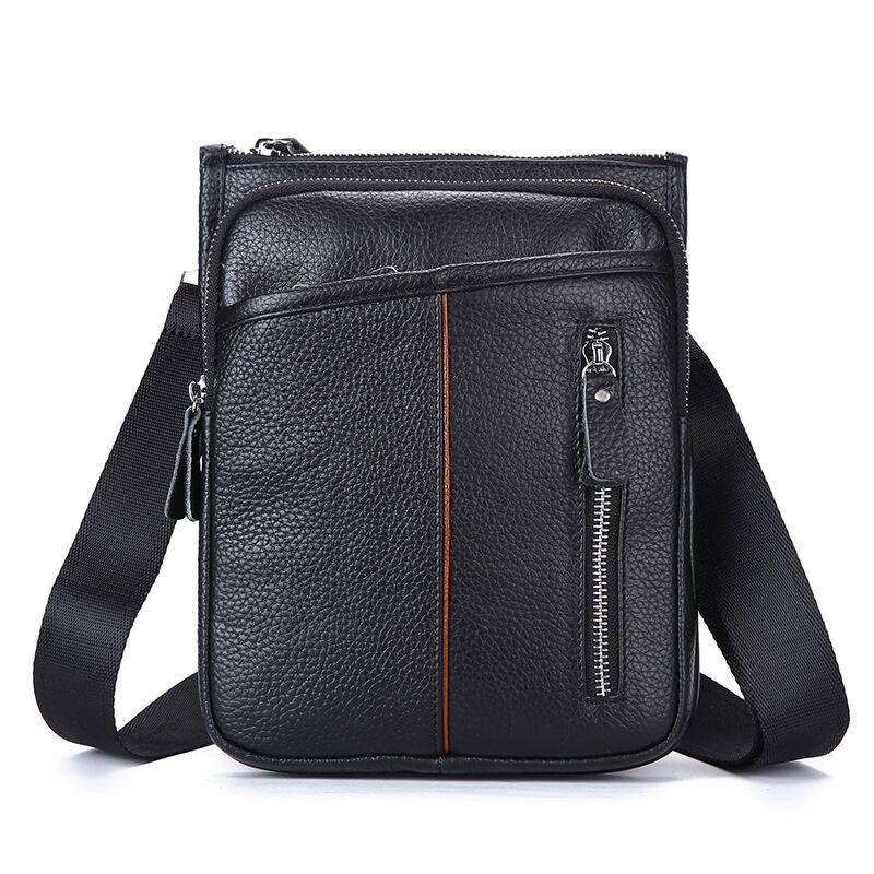 CHEER SOUL Genuine Leather Men Bags Casual Leather Crossbody Bag Shoulder Male Handbags Small Fashion Designer Man Bags L-004