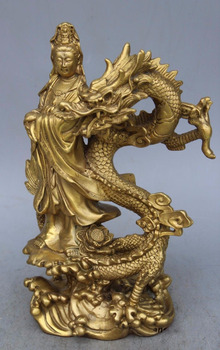 China Buddhism Temple Pure Brass Dragon kwan-yin GuanYin Goddess buddha statue
