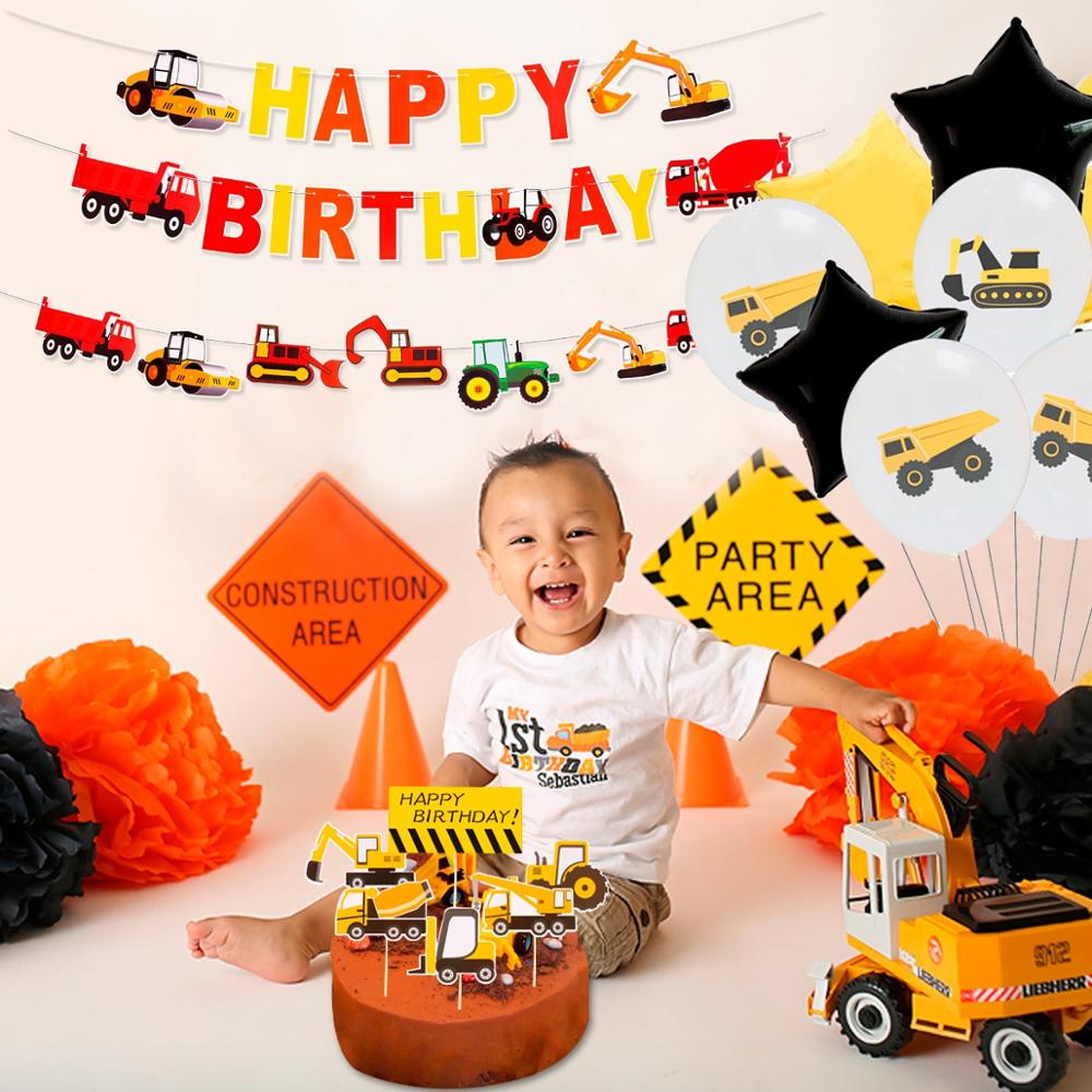 Image 2 - Construction Birthday Balloons Cars Construction Party Decorations Balloon Birthday Tractor Ballon Helium Ballons Decor Birthday-in Ballons & Accessories from Home & Garden