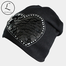 2016 New Women Winter Beanies Cotton Polyester Blended Beanie Slouch Warm Hat Rhinestone Ladies Cap Black Bonnet Hats Women Cap