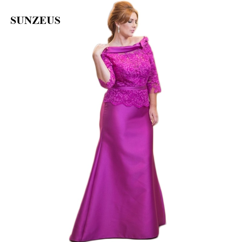 Three Quarter Sleeve Sheath Mothers Dress Scoop Lace Formal Wedding Party Dresses Satin  ...