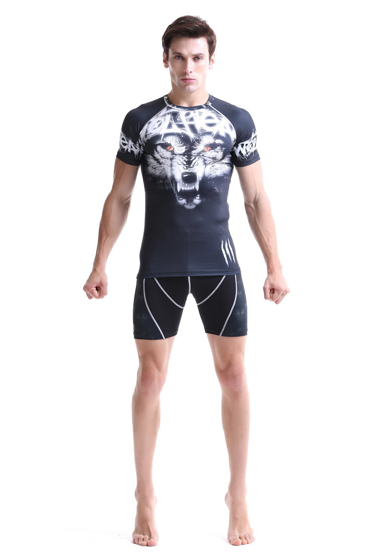 Hot plus size suit for men cool runnings sets suits allover tiger head sublimation shirt+compression shorts base layer tall