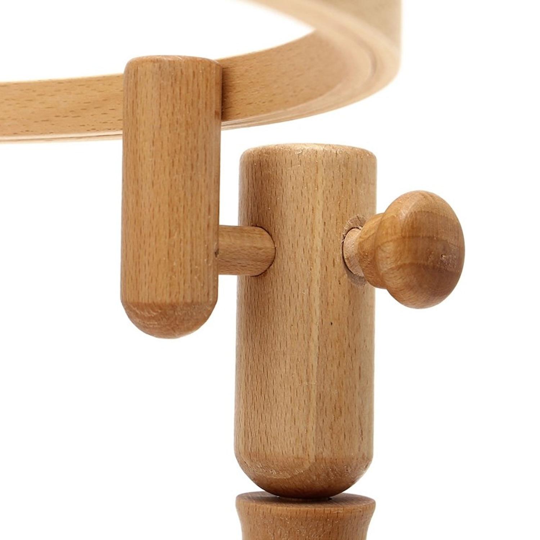 Portable Adjustable Round Wooden Cross Stitch Embroidery Hoop Rack Frame Desktop Stand Handmade Craft Tools 21cm