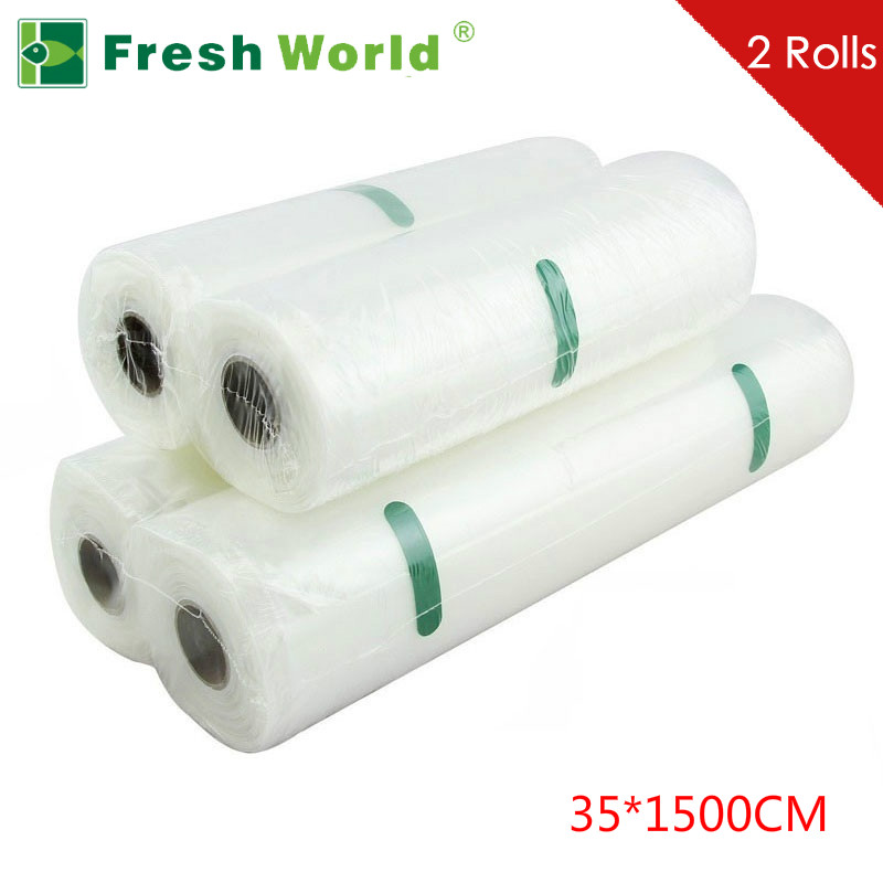 2Rolls lot Hot Sale 35x1500CM Vacuum Food Bag for Kitchen Vacuum Storage Bags Packing Film Keep
