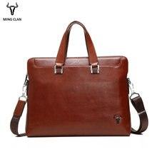 6a6fc26cc4a6 Mingclan мужские Портфели Тетрадь Сумка Натуральная Воловья кожа сумка для ноутбука  офис сумка Бизнес работы документ сумка