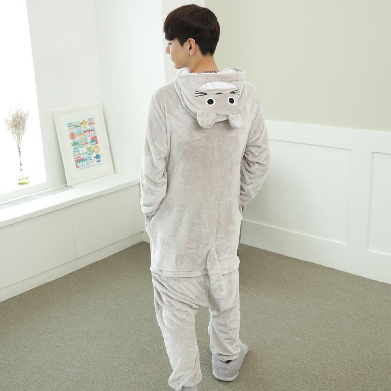 Lovely Cartoon Totoro Cat Onesie For Adults Large Size Flannel Pajamas Kigurumi For Halloween Cosplay Parties Overall Bodysui (6)