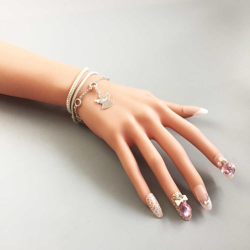 Anioł stróż z sercem Charms wisiorek, biżuteria 925 srebrny prezent dla kobiet dziewczyny Fit bransoletka naszyjnik torba