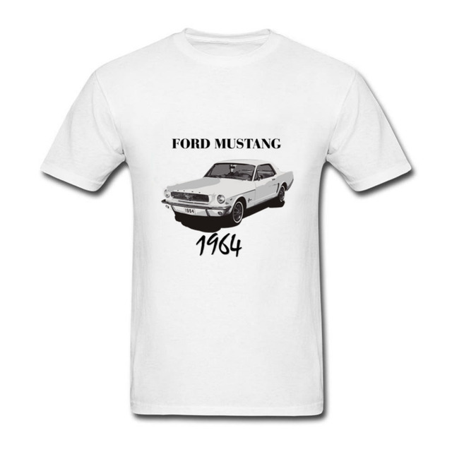 cbef89a290979 Hot Cheap promotion Printed Men T Shirts Short sleeved Ford Mustang 1964 T  shirt USA Country America Car Crewneck Summer Tee Shi