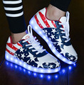 Man  FLag Print  LED Light Shoes USB Charge Colorful Light Lover Shoes Loafers 8 Light Mode Plus Size 35~44 .lf-21