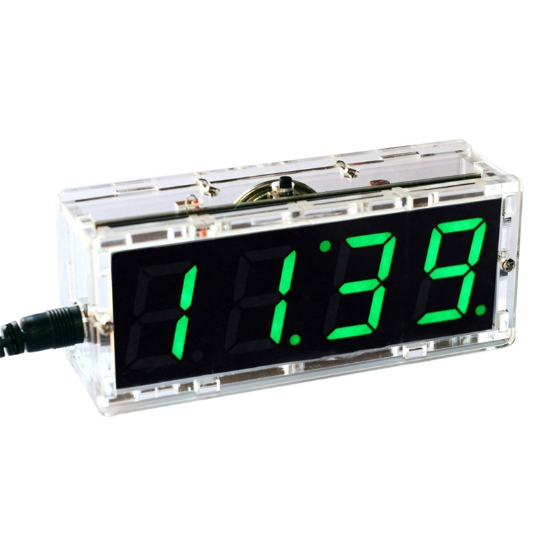Compact Digital 4-Digit Led Talking Clock Diy Kit Light Control Temperature Date Time Transparent Showcase (Green)