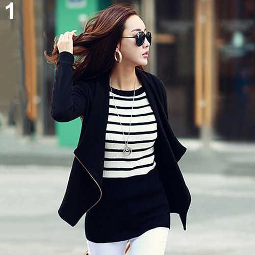 新しい到着ファッション女性韓国スタイルスリムコートジャケットカジュアルジッパースーツ生き抜く