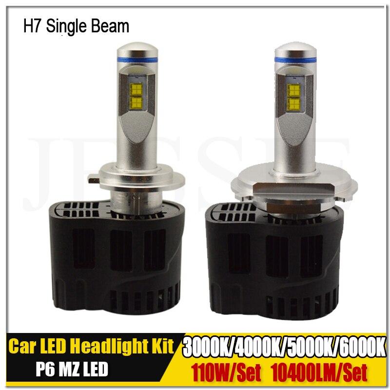 Pair H7 LED 110W 10400Lm Car Headlights P6 MZ Canbus Auto Car Truck Fog Lighting Replacement Bulbs 6000K 5000K 4000K 3000K 2pcs new high quality zy p6 110w 10400lm led headlight kit conversion canbus bulbs 9004 9007 3000k 4000k 5000k 6000k