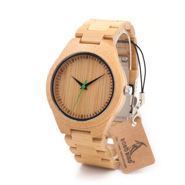 BOBO BIRD G26 Brand Design Мужская Bamboo Смотреть Зеленый Второй Указатель кварцевые Часы для Мужчин Женщин, как Лучший Подарок Деревянной Подарочной Коробке
