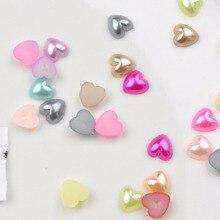 FLTMRH 12 мм 100 шт. смешивания Цвет имитация жемчуг полукруглый Flatback сердце Форма шарики для Записки Свадебные украшения