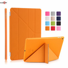 for ipad air 2 case,aiyopeen matte transparent pc back cover 11-fold pu leather smart wake up sleep magnetic flip stand