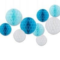 Packung mit 15/20/25 cm Dekorative Hochzeit Gewebe Weiß Blau Papierwabe Balls Blume Baby-dusche Liefert Partydekorationen