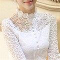 Novo 2016 Outono Plus Size Mulheres Retro do Laço Do Crochet Blusa Sheer Camisas Tops Para Roupas Femininas Vestidos Blusas Femininas Blusas