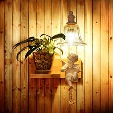 Творческий Пастырское Белый Ангел Кристалл E14 110/220 В Кованого Железа бра abajur прикроватные Бра для фойе lamparas бар коридор