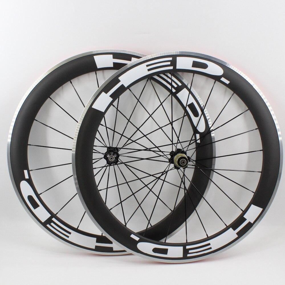 1 paire nouveau 700C 60mm pneu jante vélo de route mat UD carbone vélo roues avec surface de frein en alliage aero rayons brochettes livraison gratuite