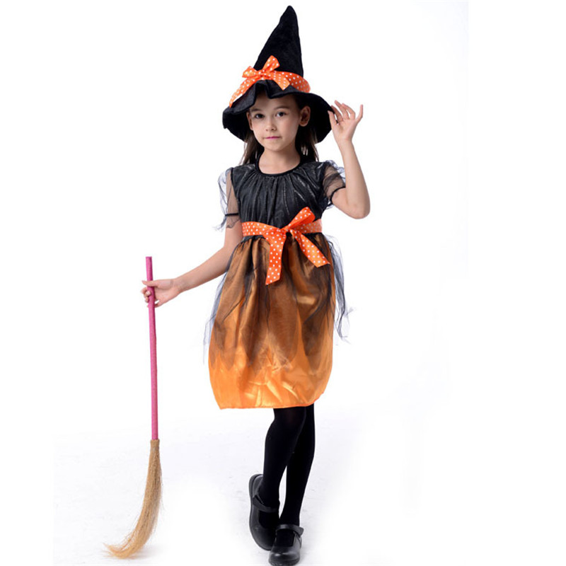 New Arrival Halloween Party Children Kids Cosplay Witch Costume For Girls Halloween Costume Party Witch Dress