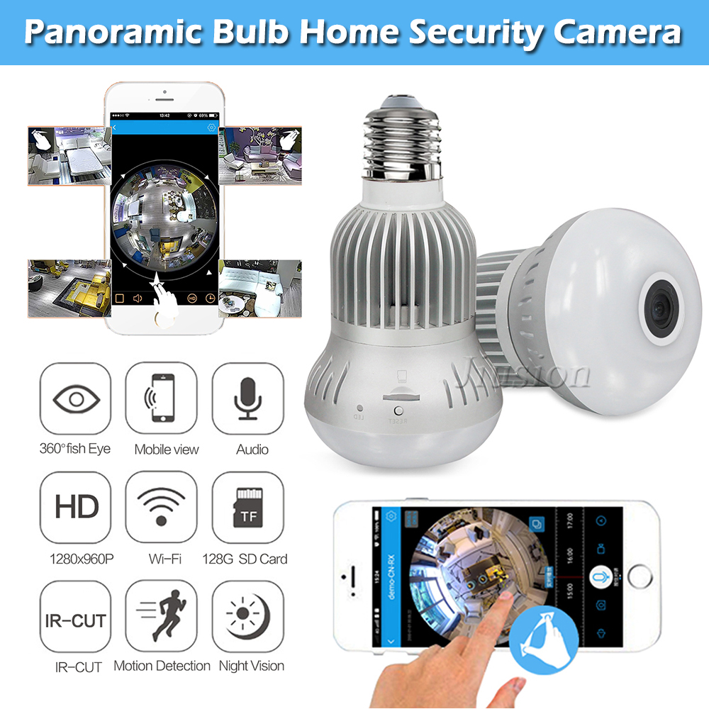 WiFi Mini Bulb Panoramic Camera 960P HD Fisheye IR Night Vision Surveillance Motion Detection IP 360 Degree Cam Support 128GB умные часы smart watch y1