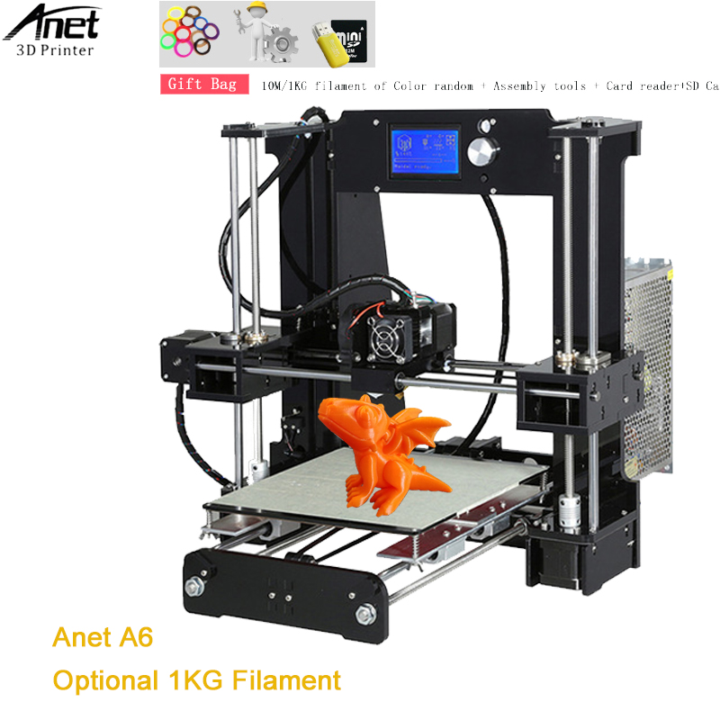 Anet A6 3D Printer Kit Big Size 220*220*250mm Large Printing Size Hotbed 3D Printe With Free Filaments 8G SD Card Assembly Tools free shipping eyoyo original 1000tvl underwater ice video fishing camera fish finder 15m cable 3 5 color lcd monitor