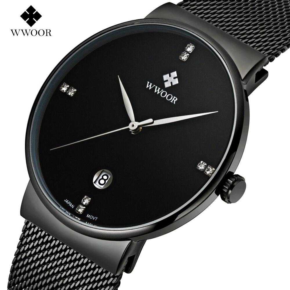 deb528332f8 WWOOR Business Casual relógios Dos Homens Relógios Top Marca de Luxo  relógio de Pulso de Aço Completo Relógio de Quartzo relogio masculino Dos  Homens Ultra ...