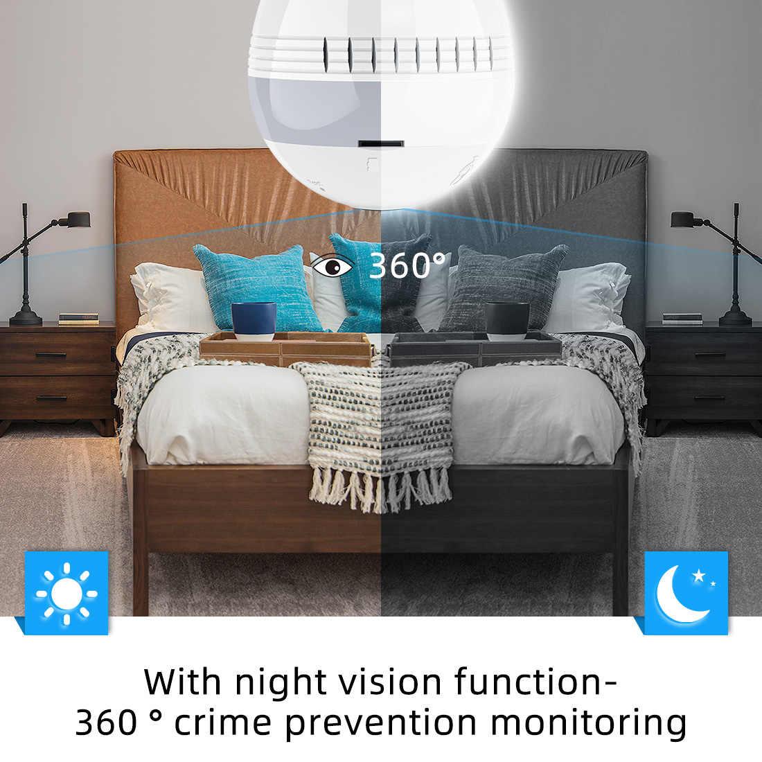 FREDI Led Light Wireless 1080P Panoramic FishEye IP Camera WiFi Bulb Lamp Home Security CCTV Camera Infrared Night Vision Camera