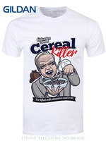 Printed Summer Style Tees Male Harajuku Top Fitness Brand Clothing Men39;s Cereal Killer T-shirt White