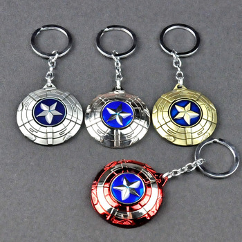 [Funny] 30pcs/lot The Avengers Captain America shield model Pendant keychain toys metal car key chain phone Keyring blister pack