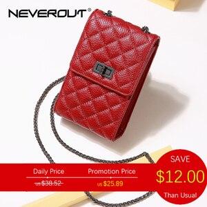NEVEROUT المرأة البسيطة مبطن حقيبة جلد طبيعي رسول/حقيبة كتف السيدات محفظة الهاتف المحمول Crossbody الأحمر/الأسود Sac