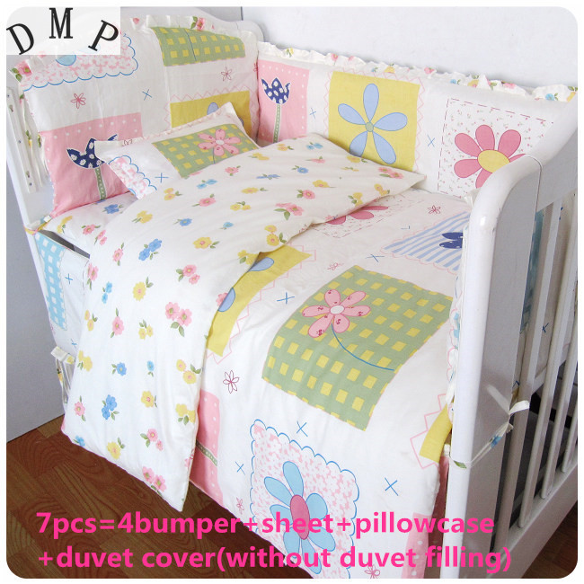 2017! 6/7PCS Pink Baby Crib Bedding Set for Girls Cartoon Bird Newborn Baby Bed Linens Cotton Cot Duvet Cover,120*60/120*70cm blue pink cartoon london buss star shaped polka dot print bedding set queen size for girls home decor cotton duvet quilt covers