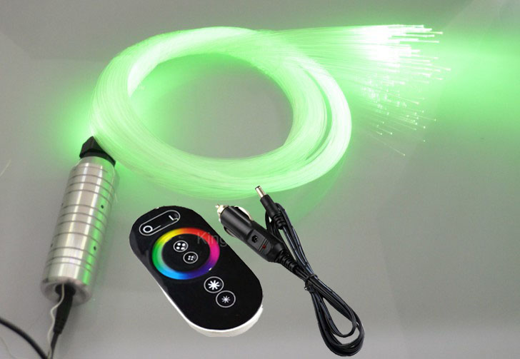 RGB LED DC12V 6W fiber optic light engine driver + RF touch remote controller + 0.75mm*2m*150pcs end glow PMMA fiber optic cable
