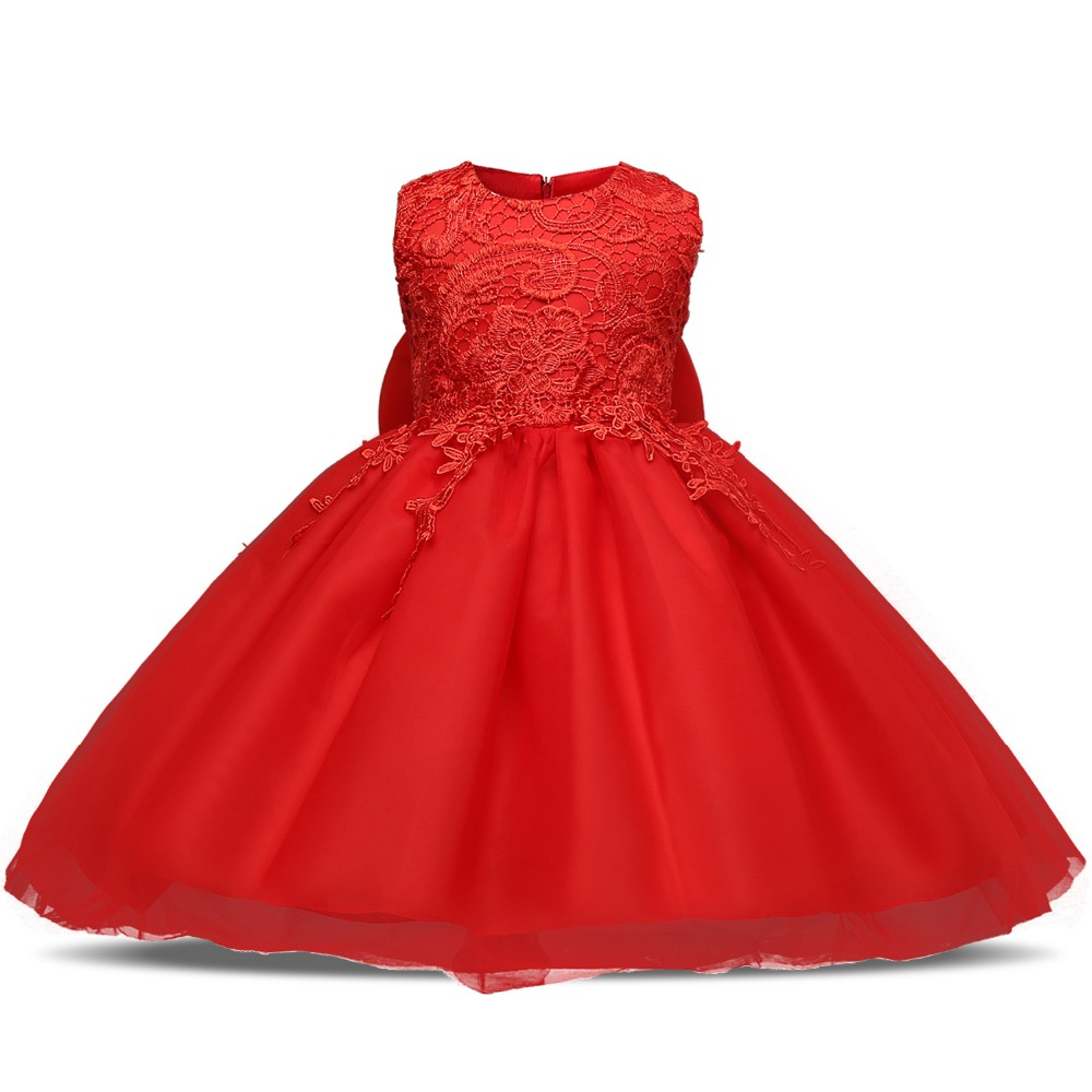Red Flower Princess infant Dress Girl Birthday Clothes 1
