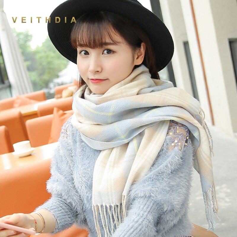 VEITHDIA 2019 Autumn Winter Female Wool Plaid Scarf Women Cashmere Scarves Wide Lattices Long Shawl Wrap Blanket Warm Tippet