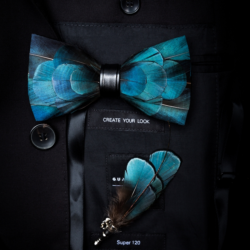 JEMYGINS Brid Projeto Original Natural Pena Requintado Feito À Mão Gravata borboleta Broche de Pino Conjunto Caixa de Presente Para Festa de Casamento Dos Homens bowtie
