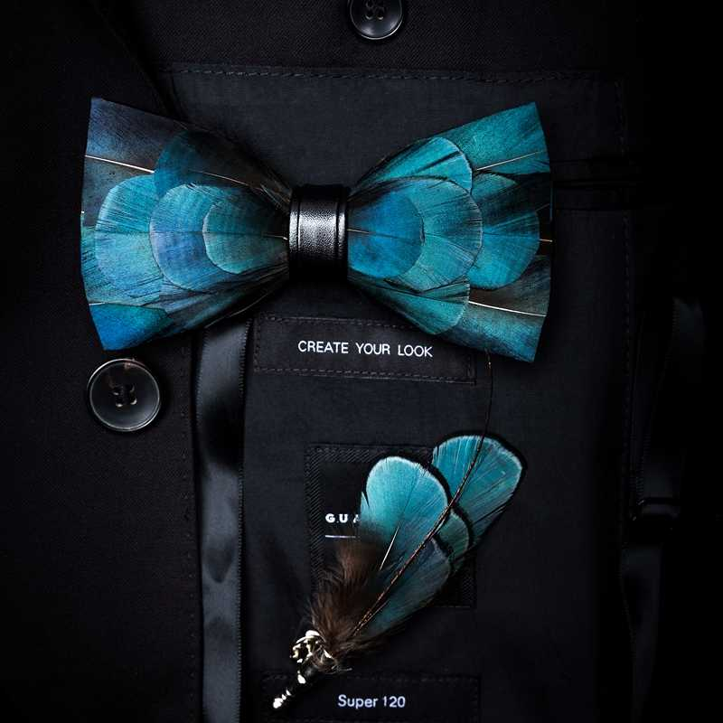 JEMYGINS Originele Ontwerp Natuurlijke Brid Veren Prachtige Hand Gemaakt Strikje Broche Pin Gift Box Set Voor Mannen Wedding Party bowtie