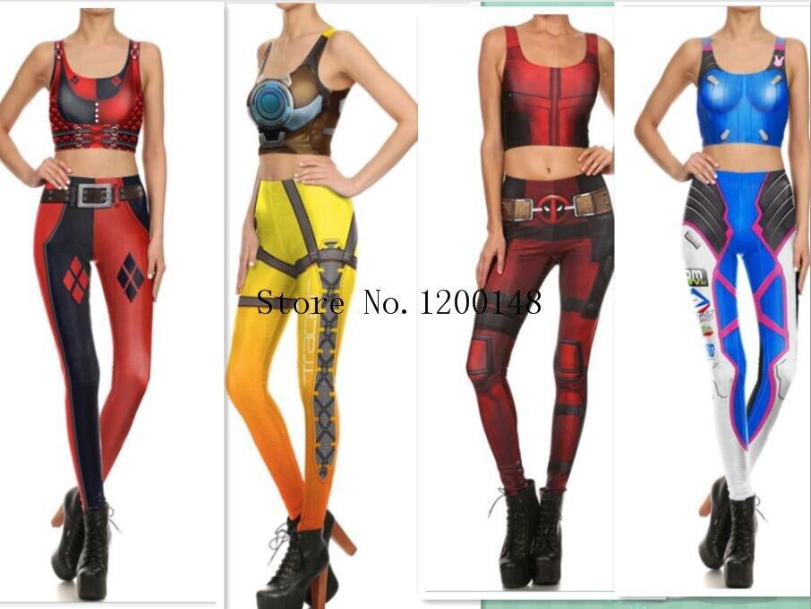 d8bcf527f3d73 Halloween Sexy dva Cosplay Costume Slim Games Tops and Pants 3d Print Leggings  Over dva leggin