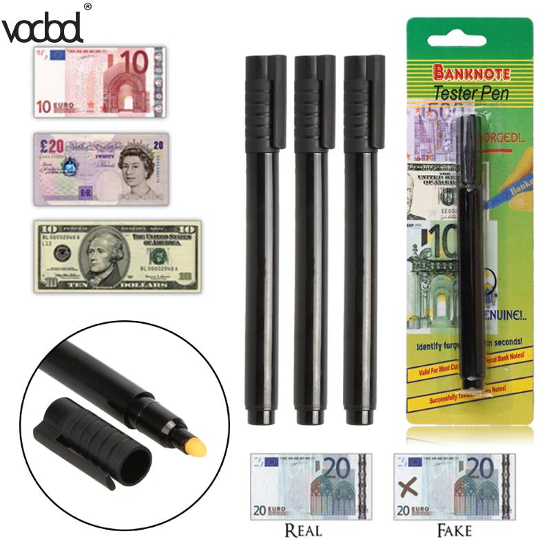 1Pc/3Pcs Portable Pen Style Water-based Money Bill Checker Counterfeit Detector Marker Fake Banknotes Tester Pen Black