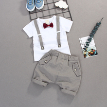 New Baby Boys Clothing Set Summer Pullover T-shirt + Pant 2Pcs/set Fashion Formal Wedding Party Costume Kid Toddler Suits XL308